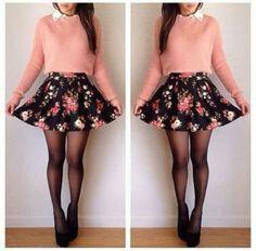 Skirt and pink shirt
