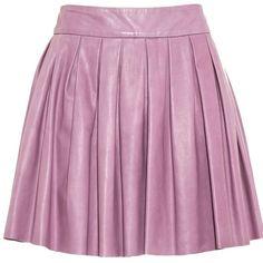 alice + olivia Box Pleat Leather Skirt ($280) ❤ liked on Polyvore featuring skirts, mini skirts, bottoms, faldas, saias, purple mini skirt, high-waisted flared skirts, pleated mini skirt, flare skirt and high waisted mini skirt