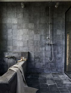 Beautiful bathrooms to inspire you Bath and shower with square charcoal encaustic tiles on wall and floor Black Tile Bathrooms, Black And White Tiles Bathroom, White Bathroom Tiles, Bathroom Flooring, Modern Bathroom, Kitchen Floors, Small Dark Bathroom, Bling Bathroom, Shower Bathroom