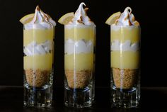 Lemon Meringue Pie Shooters - make with Instant Lemon Pie Filling - layer with Cool Whip and Cracker Crumbs - try with chocolate crumbs too