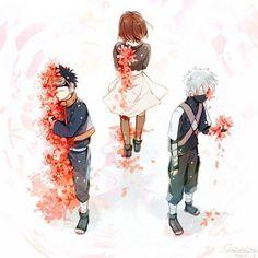 Nohara Rin, Hatake Kakashi, Uchiha Obito The feels😵 Naruto Kakashi, Anime Naruto, Manga Anime, Naruto Fan Art, Naruto Teams, Naruto Cute, Naruto Shippuden Anime, Shikamaru, Gaara