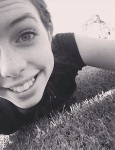 Dani's selfie on a neighbor's lawn