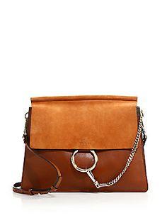 ChloÉ Chloe Medium Faye Suede & Calfskin Shoulder Bag In Brown Leather Shoulder Bag, Shoulder Strap, Shoulder Bags, Purse Styles, Chloe Bag, Embossed Logo, Suede Leather, Handbags, Purses