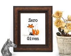 Items similar to Zero Fox Given Zero Fox Given, Watercolour, Hand Painted, Boutique, Digital, Frame, Prints, Painting, Pen And Wash