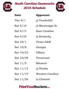 Printable South Carolina Gamecocks Football Schedule 2016: