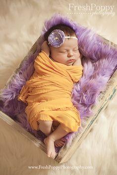 Yellow and purple newborn prop