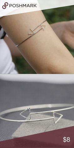 Silver Hollow Adjustable Arrow Arm Cuff Bracelet Silver Hollow Triangle Arrow Arm Cuff Bracelet Jewelry Bracelets