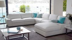 White leather 6 seater, extremely impractical but GORGEOUS Leather Sofas Uk, Leather Modular Sofa, Leather Lounge, Best Furniture Online, Cool Furniture, Hamptons Style Homes, Microfiber Sofa, Modular Lounges, New Room