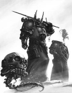 Supreme Grand Master Azrael by Mikhail Savier Warhammer 40k Art, Warhammer Fantasy, Warhammer Models, Dark Angels 40k, Fallen Angels, Martial, Space Wolves, The Grim, Angel Art