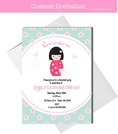 Japanese Girl Birthday Invitation Customized For You To Print - Birthday invitation in japanese