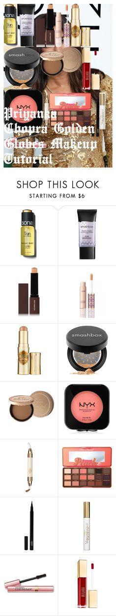 """Priyanka Chopra Golden Globes Makeup Tutorial"" by oroartye-1 on Polyvore featuring beauty, Sonia Kashuk, Smashbox, Hourglass Cosmetics, tarte, Benefit, Too Faced Cosmetics, NYX, Charlotte Tilbury and Avani"