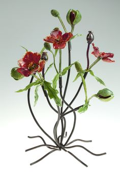 Loy Allen Glass ~ 2013 Standing Metal & Glass Pieces