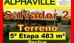 Terreno a venda, Alphaville Salvador 2, 5ª Etapa, 483 m²  Lote residencial a venda em Alphaville Salvador 2, localizado na 5ª etapa, com 483 m² de área, topografia plana até no meio do terreno e o restante em declive, veja nas fotos.  O Alphaville Salvador 2 tem um dos melhores sistemas de segurança do Brasil, tem um modelo de ocupação de baixa densidade. Ocupando uma área de 853.344m², Alphaville Salvador 2 possui 528 lotes residenciais