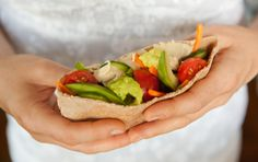QUICK HUMMUS AND VEGETABLE STUFFED PITAS  In this kid-friendly recipe, egg salad can be used instead of hummus, if you like.