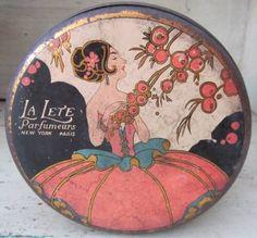 La Lete Parfumers Art Deco Talcum Powder Tin With Original Puff - by VintageWantsNotNeeds on Etsy