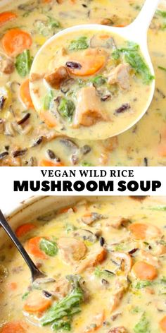 Creamy and cozy vegan wild rice mushroom soup recipe with leeks and white wine, comforting, warming and filling. Creamy and cozy vegan wild rice mushroom soup recipe with leeks and white wine, comforting, warming and filling. Rice Recipes For Dinner, Veggie Recipes, Whole Food Recipes, Vegetarian Recipes, Cooking Recipes, Healthy Recipes, Veggie Food, Vegetarian Soup, Cooking Tips