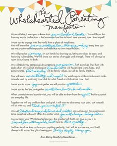 Brene Brown - wholehearted parenting manifesto