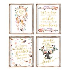 Nursery Wall Art Nursery Decor Set of 4 Baby Gift by AdorenStudio                                                                                                                                                                                 More