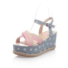 WeiPoot Womens Blend Materials TwoToned Buckle Open Toe HighHeels Platforms  Wedges Blue 37 * More info could be found at the image url.