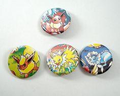 Pokemon Button Set – Eevee Flareon Jolteon Vaporeon – Set of 4 – Upcycled Pinback Buttons – Eeveelution – Pokemon Pins – Pokemon Badges
