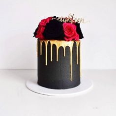 Love the black and gold on this bespoke cake by Petal and Peach Pretty Cakes, Beautiful Cakes, Amazing Cakes, Black And Gold Cake, Black And Gold Birthday Cake, Cupcakes, Cupcake Cakes, Birthday Drip Cake, 21st Cake