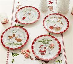 Ceramic Christmas Plate Set, Set Of 4  Store: Pottery Barn Kids