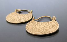 gold hoop earrings solid gold earrings brushed by DaphneArtJewelry