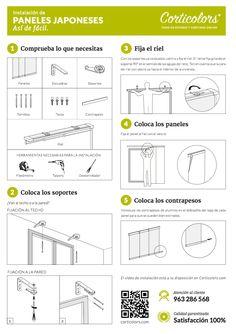 Guía montaje de paneles japoneses. Sigue paso a paso esta guía y la instalación de estos #panelesjaponeses será muy sencillo.  #decorarhogar #interiorismo #estores #cortinaselegantes