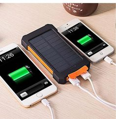 TOP-QUALITY & WATER PROOF Solar Power Bank Dual USB Travel Power Bank 20000mAh External Battery Portable Charger for Mobile phones