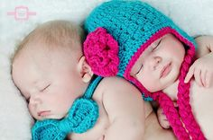 My niece and nephew are goingbto need these!!! Crochet Baby Twins Set Flower Hat and Bow Tie