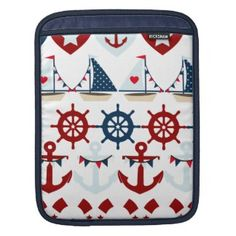 Summer Nautical Theme Anchors Sail Boats Helms iPad Sleeve