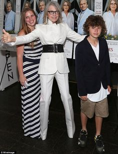 "Diane Keaton with daughter Dexter and son Duke at a Hamptons after-party for her ""And So It Goes"" film  (co-starring Michael Douglas) July 2014"