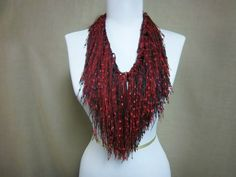 Fringe Binge Fringe Necklace Scarf  in Red and by pflumsthumbs, $25.00
