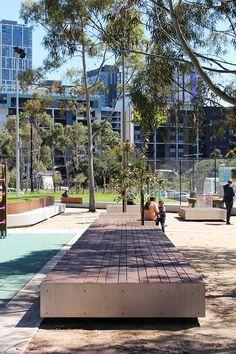 CLEC Site Docklands Park – Stage 2 | Melbourne, Australia | MALA Studio #park #landscapearchitecture #corten #edge #seat #bench #timber #wood