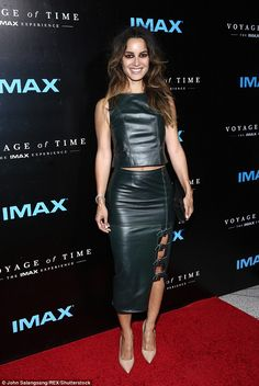 Ooh la la! French actress Berenice Marlohe looked stunning in a two-piece leather ensemble...