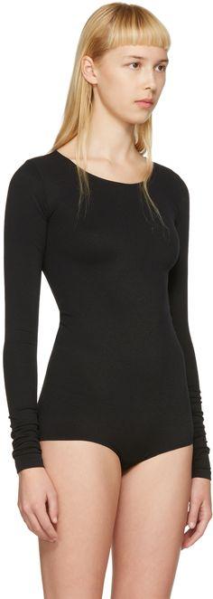Rick Owens Lilies: Black Long Sleeve Bodysuit | SSENSE