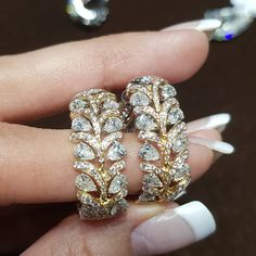 Diamond eternity rings by Begani Jewels Diamond Solitaire Earrings, Diamond Jewelry, Diamond Earrings Indian, Solitaire Ring, Black Gold Jewelry, Jewelry Patterns, Indian Jewelry, Wedding Jewelry, Jewelry Collection