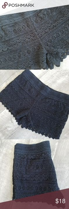 """LIKE NEW  Lace Shorts They are ADORABLE and good quality, purchased as Dillards. Washed and worn once, excellent  condition! Waist is elastic,  so comfy  while looking amazing!  15"""" across waist, keep in mind elastic! Jolt Shorts"""