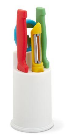 Set 4 pezzi cucina Set in nylon composto da pelapatate, apribottiglie e due coltelli, in contenitore di plastica. Personalizza la tua idea regalo! Con Ibiscus gadget €5.47 IVA Inclusa
