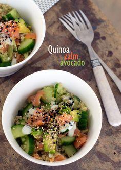 quinoa salade zalm avocado