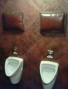 Urinal pillows headrests in mens bathroom Funny Pictures Random Humor Epic Fails worst family photos bad family photos weird worst tattoos b. Dive Bar, Man Cave Garage, Its A Mans World, Looks Cool, My Man, Decoration, Weird, Funny Pictures, At Least