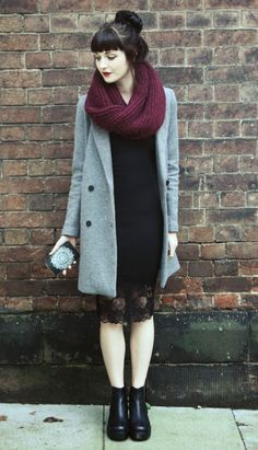 style, winter, pale blue coat, snood, chunky knit, lace, boots, bun, hair, fashion