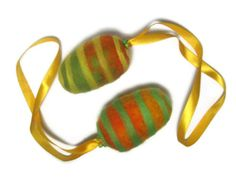 Felted eggs, set of 2, color, Easter gift, green orange yellow, hanging ornaments on Etsy, $12.00