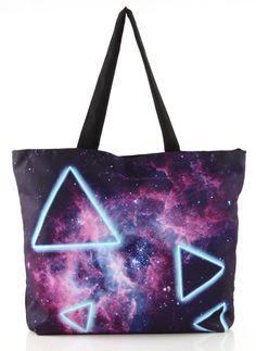 Purple Galaxy Triangle Print Zipper Shoulder Bag US$29.79