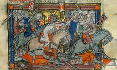King Arthur fighting the Saxons' - illustration taken from the Rochefoucauld Grail
