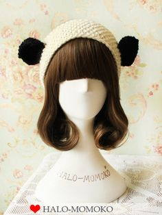 knitted headband with panda ears $35 #asianicandy #kawaii #panda