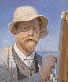 Peder Severin Krøyer (Danish, 1851-1909) |  Self portrait.  He was a prominent member of what came to be called The Skagen School of impressionist artists at the turn of the century.