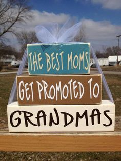 Mother's Day wood block set Grandma Nana gift home decor personalized best moms get promoted to grandmas on Etsy, $15.95