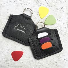 I've just found Personalised Plectrum Holder Keyring. This gorgeous handmade small black leather plectrum holder keyring makes a gorgeous little extra gift.. £9.95