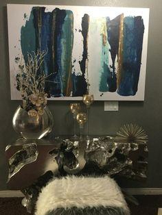 Zgallerie decor farewell my friend art , blue,white,silver ,gold entryway